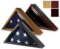 three 5X9.5 flag cases, oak cherry and black cherry