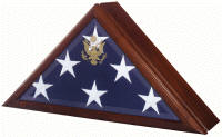 flag case with built in urn for ashes and remains