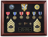 military awards and medals display case
