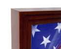 Closeup of the Colonial military shadow box American flag case for standard small 3X5 US flags