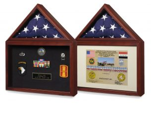 Display a flag plus medals or a certificate in our special matte frame.