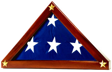With free shipping!  Gleaming, solid brass raised stars accent this gorgeous, hand-crafted solid mahogany! For 5X9.5 & memorial flags