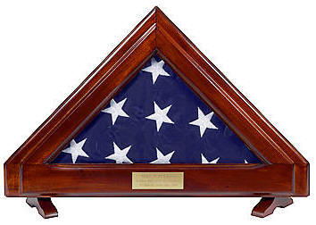 Small American flag displayed in the Franklin American flag case