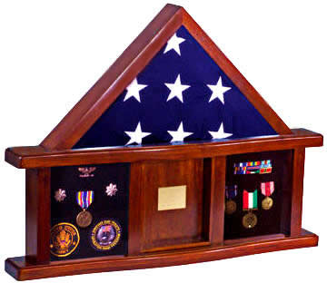 The Lincoln Shadow Box solid mahogany available in Army black (pictured), Marine Corps Red, and Air Force, Navy and Coast Guard blue.