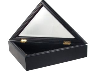 Open view of the Military Officer's Memorial Flag Case with Black Cherry Finish for large American flags