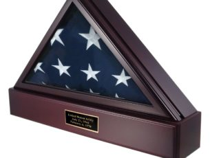 The Military Officer's Memorial Flag Case with Pedestal combination with Cherry Finish for large American flags