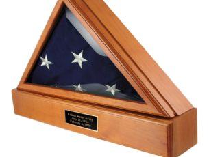 The Military Officer's Memorial Flag Case with Pedestal combination with Oak Finish for large American flags