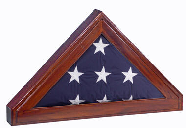 With free shipping and a custom engraved plaque included free!  Hand-crafted lustrous mahogany in a fantastic, unique design for your 5X9.5 or burial flag!