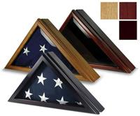 three 5X9.5 flag cases, oak cherry and black cherry