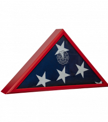 Firefighter Memorial Flag Case shown with optional engraved fire department seal