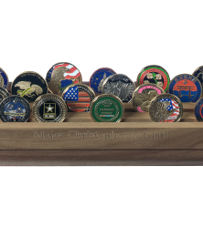 28 Challenge Coin Display with Shell Casings USA Made Hardwood Walnut Finish
