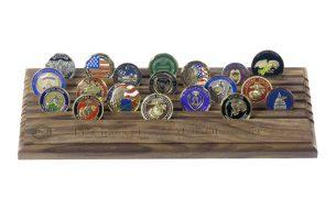 42 Challenge Coin Display USA Made Hardwood Walnut Finish