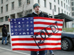 An open question remains as to whether an American flag with logos in place of stars would be considered flag desecration.