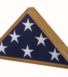 Military Veteran Memorial Flag Case Vintage Heirloom Oak