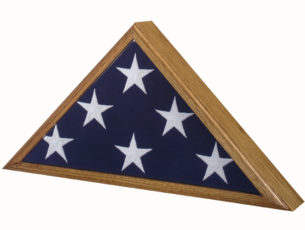 Military Veteran Memorial Flag Case Vintage Heirloom Oak