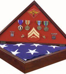 Marine Corps Military Retirement Memorial Flag Case Shadow Box