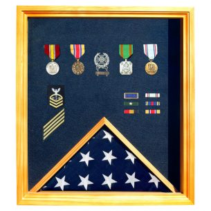 Flag Shadow Box for 3x5 Flag oak finish with free shipping and free engraved plaque plate