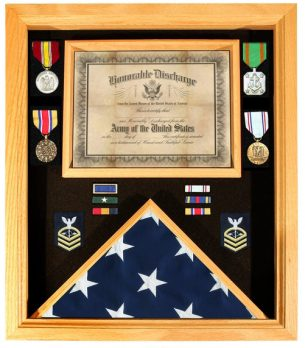 Premium Certificate Shadow Box 3x5 Flag Case Oak