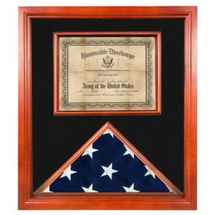 Flag and Certificate Display Case for 3x5 Flag USA made Cherry