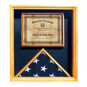 Flag and Certificate Display Case for 3x5 Flag Oak Finish