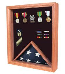 3x5 flag display case shadow box USA made oak