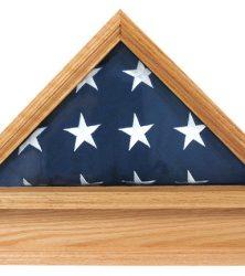 Military Officer's Flag Case and Free Pedestal Oak
