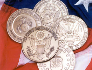 5 military solid brass medallions representing the Air Force, Army, Navy, Marine Corps, and the Great Seal of the United States of America