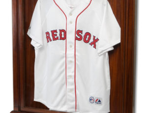 Baseball jersey displayed in our mahogany display case