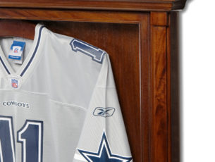 football jersey displayed in case