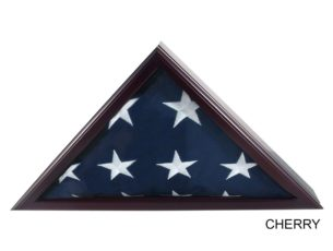 The Military Officer's Memorial Flag Case with Cherry Finish for large American flags