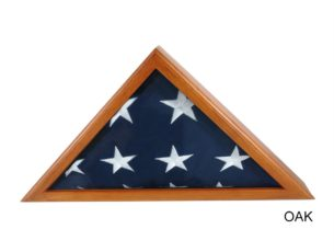 The Military Officer's Memorial Flag Case with Oak Finish for large American flags
