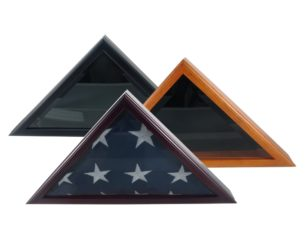 Military Officer's Memorial American Flag Case, available in cherry, oak, and black cherry finishes