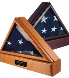 Military Officer's 3x5 flag cases in oak and cherry finishes