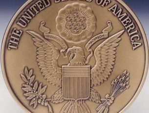 United States of America Great Seal Solid Brass Service Medallion