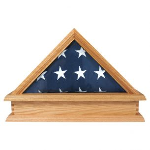Solid Oak Flag Case & Pedestal for 3X5 Flag - US Made