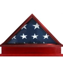 Solid Hardwood Flag Case & Pedestal for 3X5 Flag - US Made, Cherry Finish